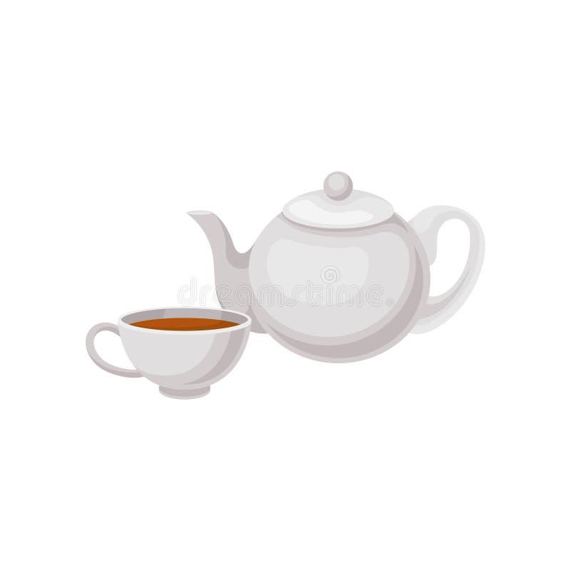 Taza de té y de tetera Bebida tradicional del inglés Elemento plano del vector para hacer publicidad del menú del cartel, del caf stock de ilustración
