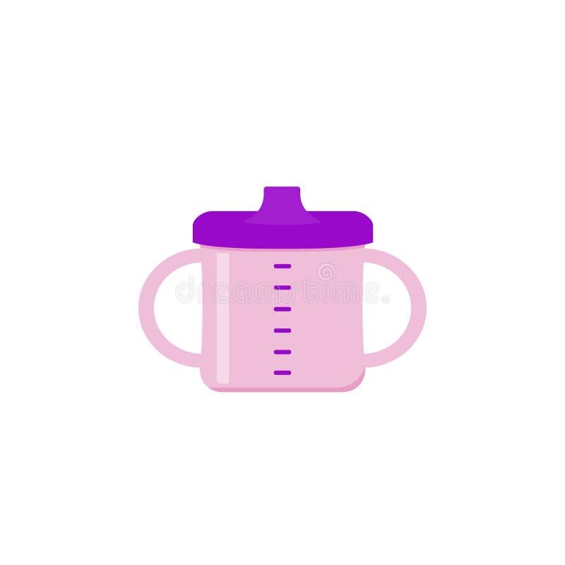 Taza del bebé con las manijas en diseño plano Illustratio de la historieta del vector libre illustration