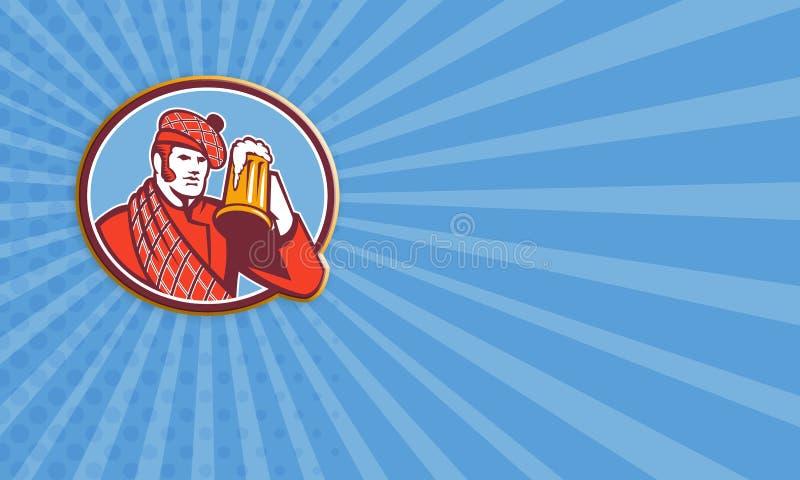 Taza del bebedor de cerveza del Scotsman retra stock de ilustración