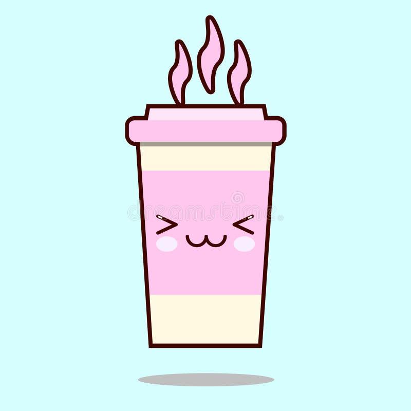 Taza del café con leche Sonrisa linda del kawaii y carácter amistoso del café Icono dibujado mano, estilo de la historieta libre illustration