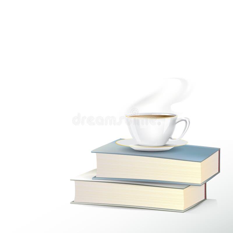 Taza del café o de té en pila de los libros imagenes de archivo