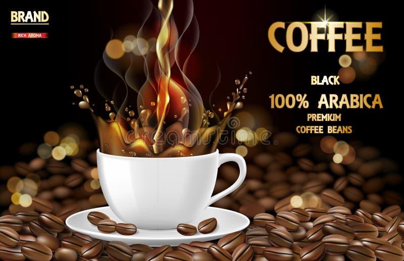 Taza del café sólo del Arabica con los anuncios del chapoteo y de las habas ejemplo 3d de la taza de café caliente del arabica Di ilustración del vector