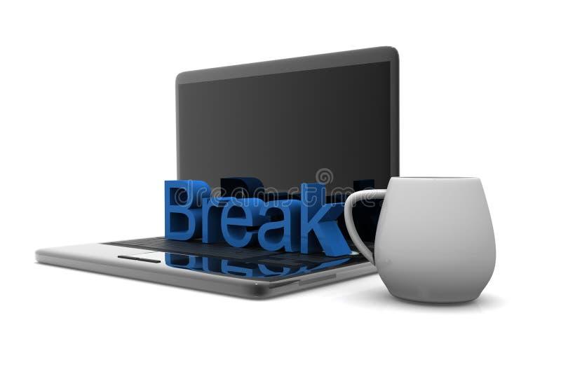 Taza del capuchino con el ordenador portátil ilustración del vector
