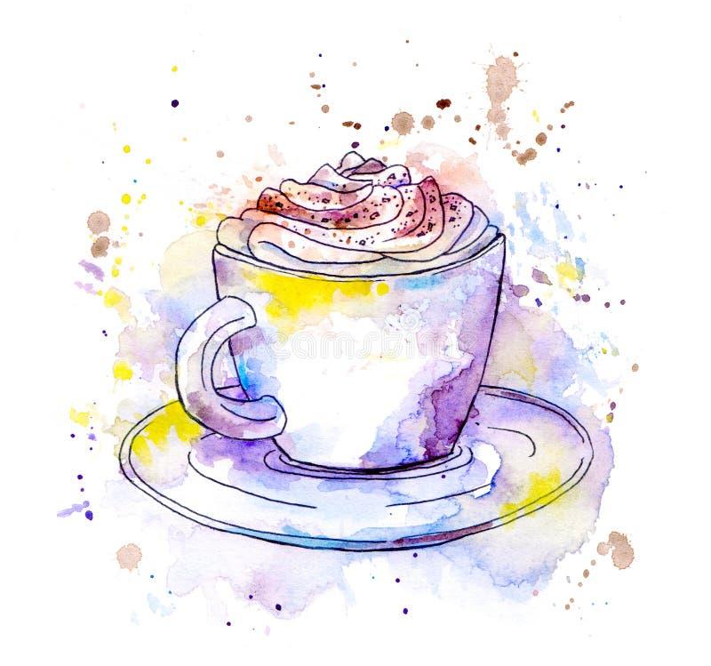 Taza del capuchino del café watercolor stock de ilustración