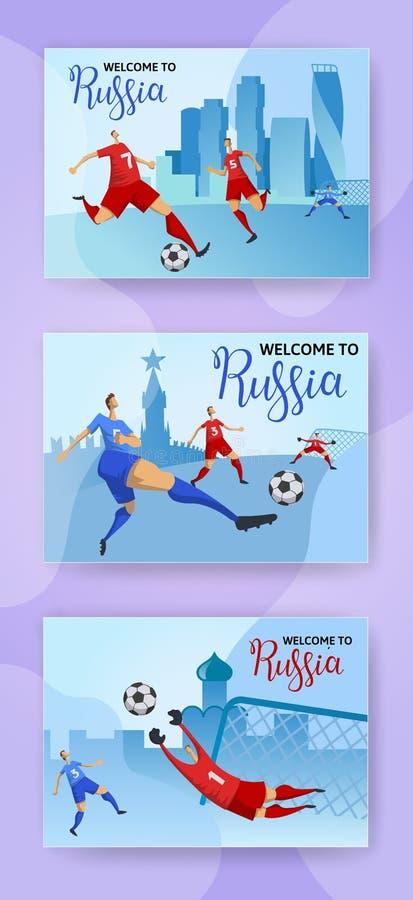Taza del fútbol Rusia Futbolistas en el fondo ruso del paisaje urbano Sistema de carteles horizontales con las letras plano stock de ilustración