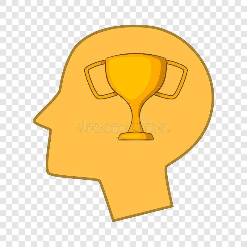 Taza del ganador en el icono de la cabeza humana, estilo de la historieta libre illustration