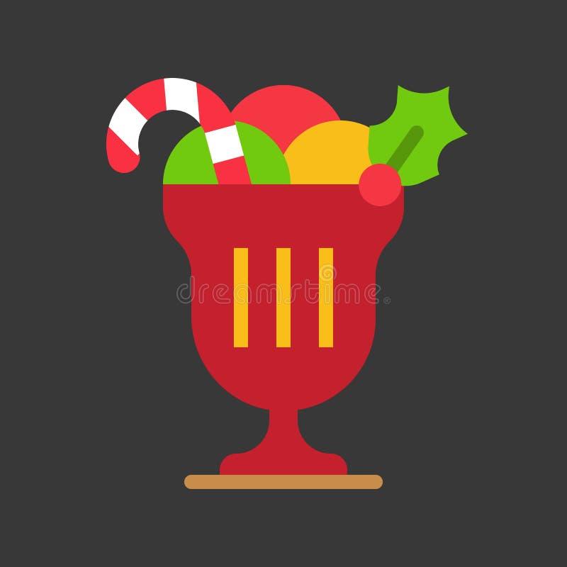 Taza del helado con el bastón de caramelo y el muérdago, comida de la Navidad stock de ilustración