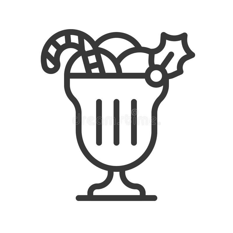 Taza del helado con el bastón de caramelo y el muérdago, comida de la Navidad Ed ilustración del vector