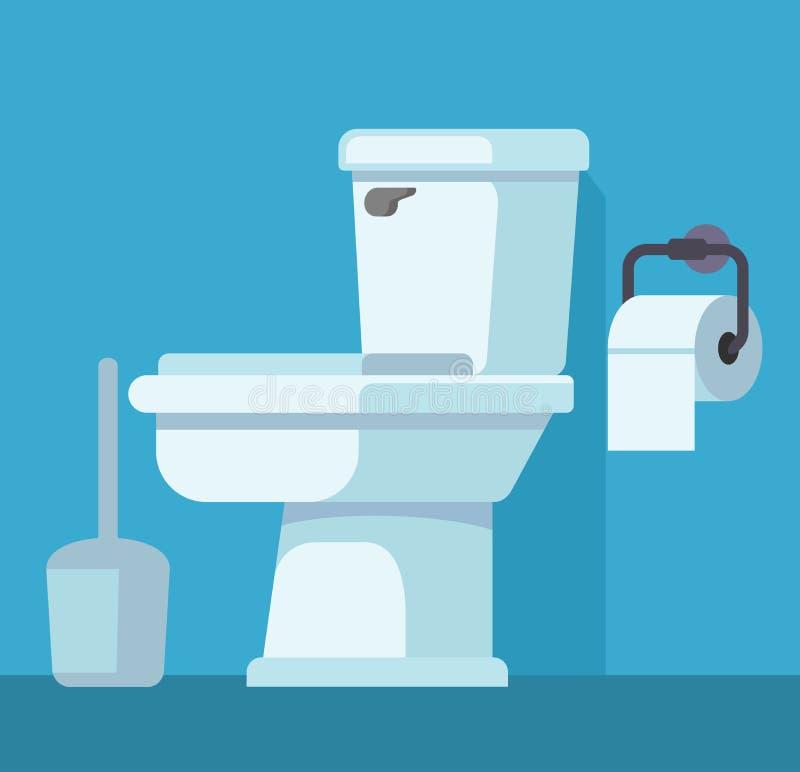 Taza del inodoro y papel higiénico ilustración del vector