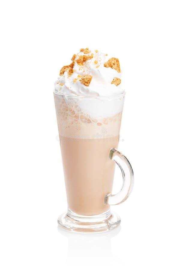 Taza del latte de Coffe en el fondo blanco imagen de archivo