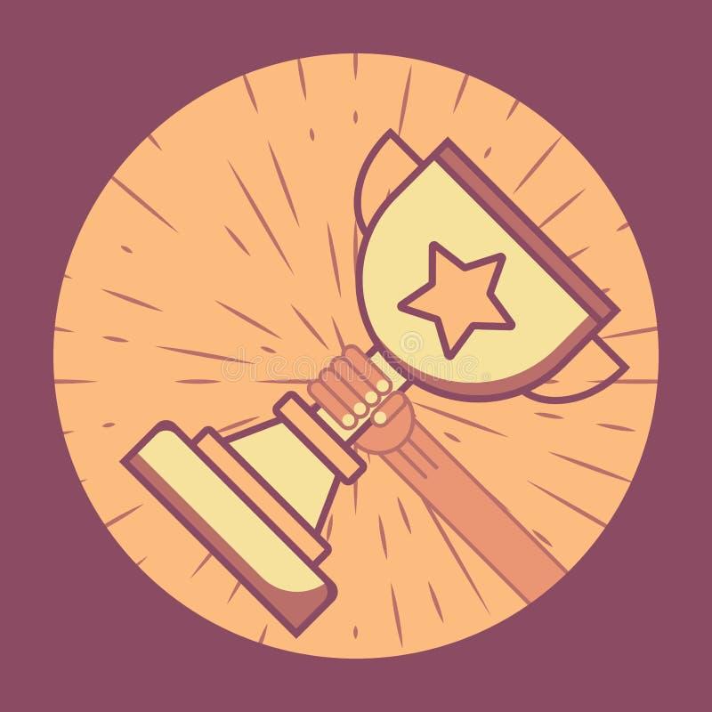 Taza del oro con la mano extendida Ganar la competencia Brillo detrás de la taza Marco redondo libre illustration