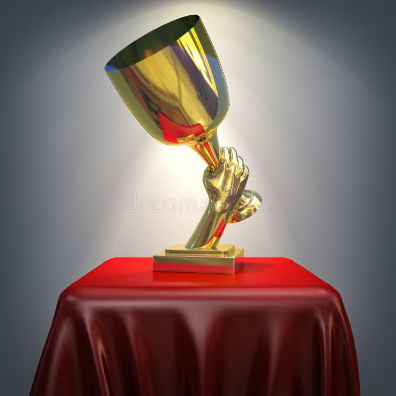 taza del oro 3d en pedestal de seda rojo ilustración del vector