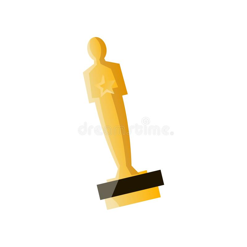 Taza del oro de Óscar para la producción moderna del cine o de la película ilustración del vector