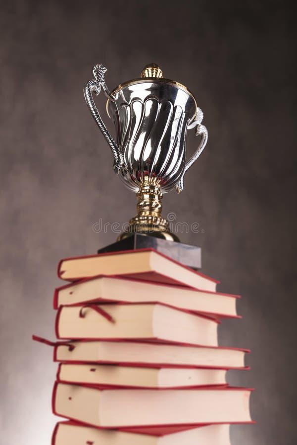 Taza del trofeo de la plata y del oro encima de los libros fotografía de archivo libre de regalías