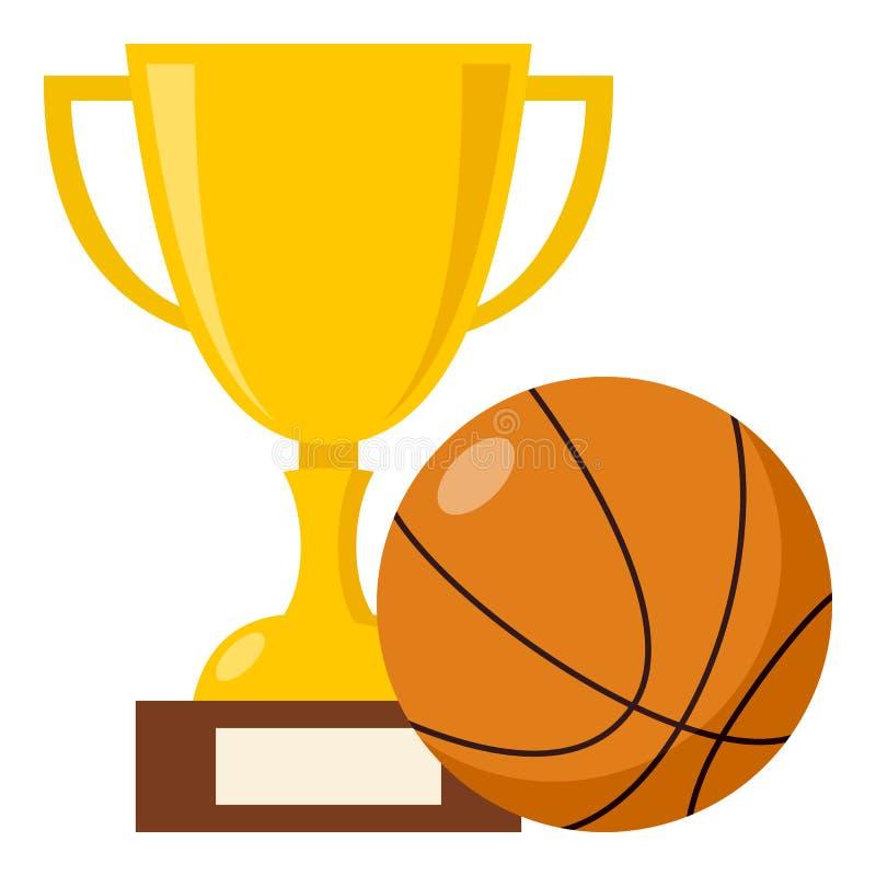 Taza del trofeo e icono plano de la bola del baloncesto stock de ilustración