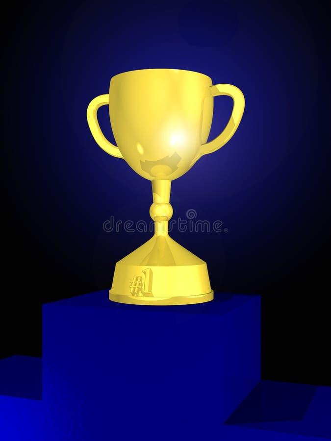 Taza del trofeo en el podium imágenes de archivo libres de regalías