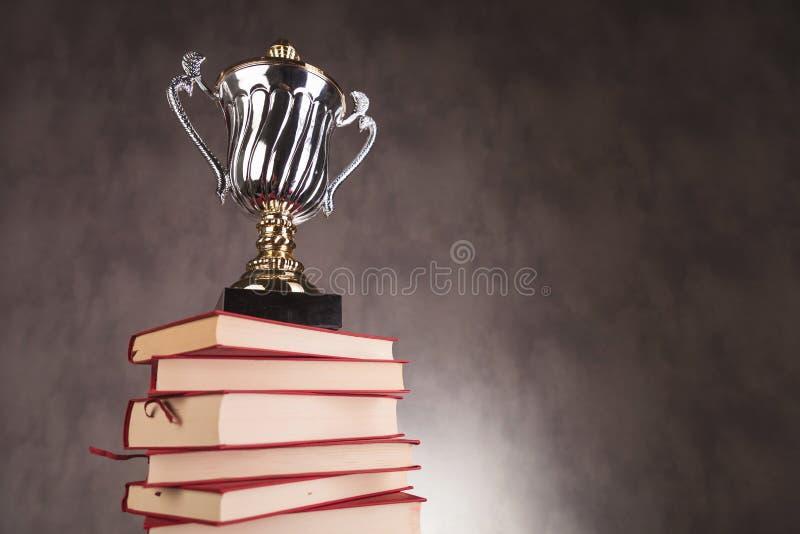 Taza del trofeo en una pila de libros con el copyspace fotografía de archivo libre de regalías