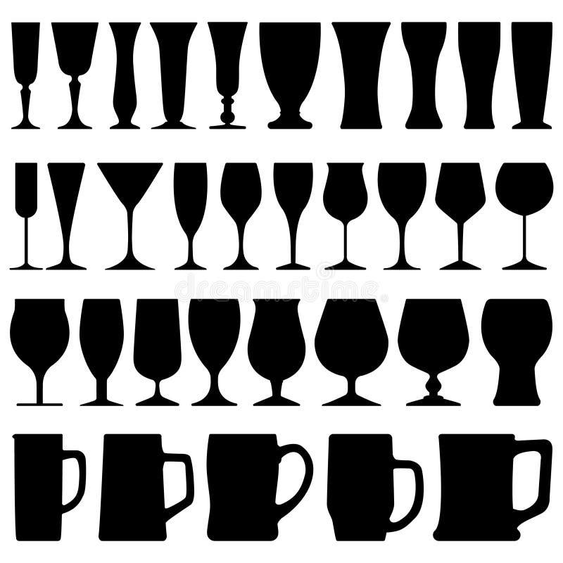 Taza del vidrio de cerveza del vino ilustración del vector
