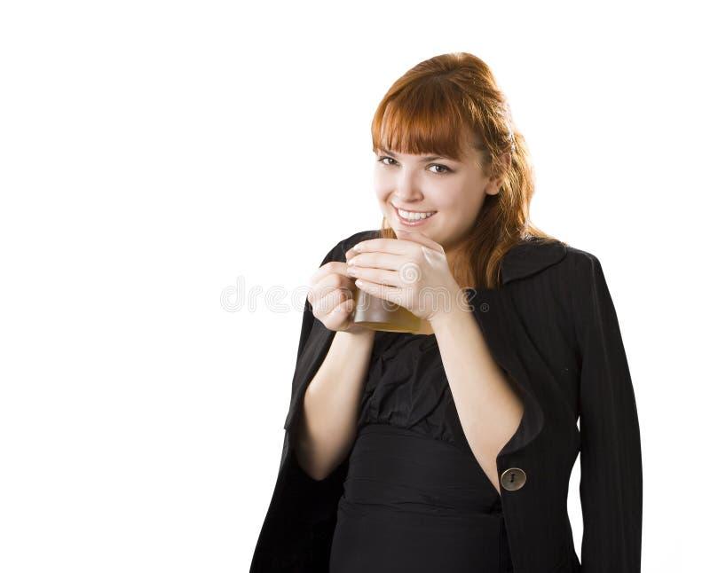 Taza del whith de las mujeres de coffe foto de archivo libre de regalías