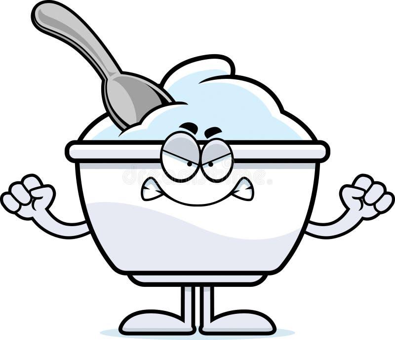 Taza enojada del yogur de la historieta stock de ilustración