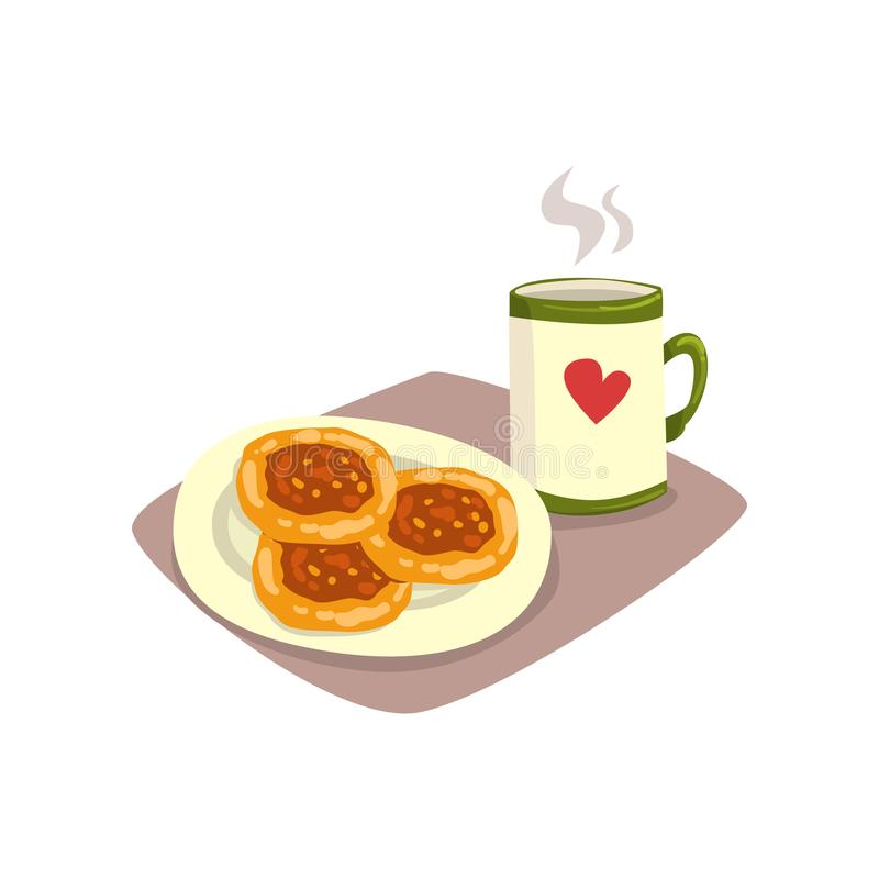 Taza grande de té o café caliente y buñuelos hechos en casa sabrosos en la placa Comida y bebida apetitosas de la historieta del  ilustración del vector