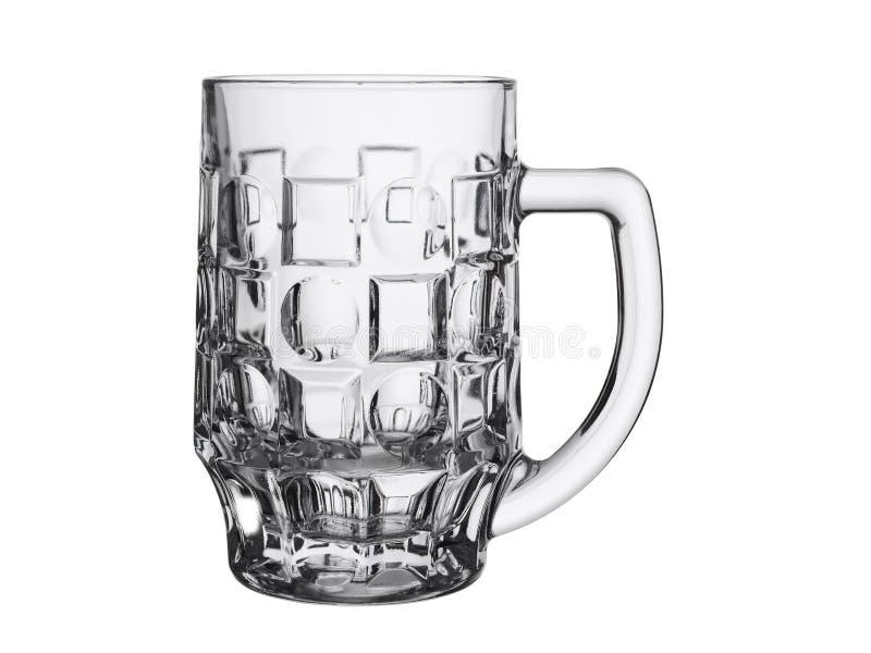 Taza grande vacía para la cerveza en un fondo blanco fotos de archivo