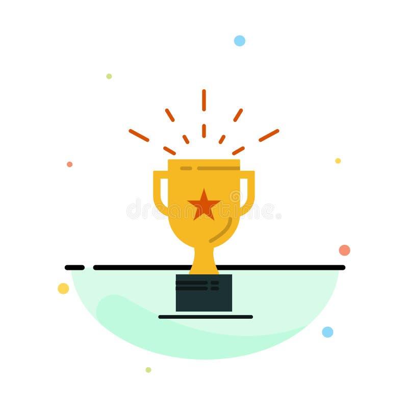Taza, medalla, premio, plantilla plana del icono del color del extracto del trofeo libre illustration