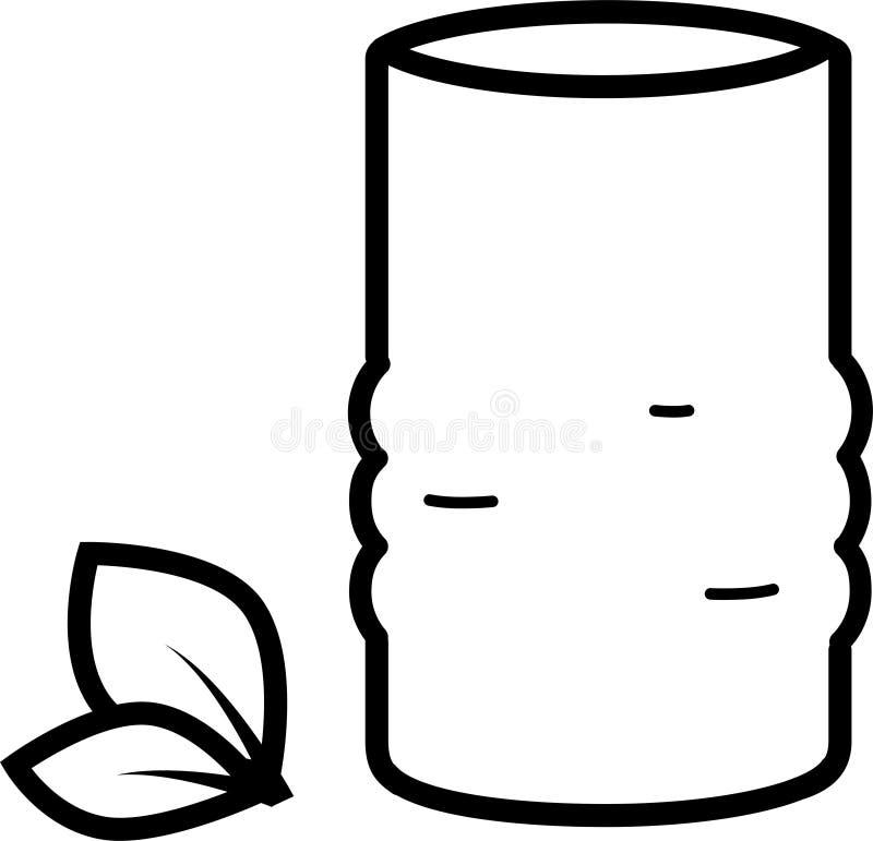 Taza oriental del icono para el té y las hojas de té stock de ilustración