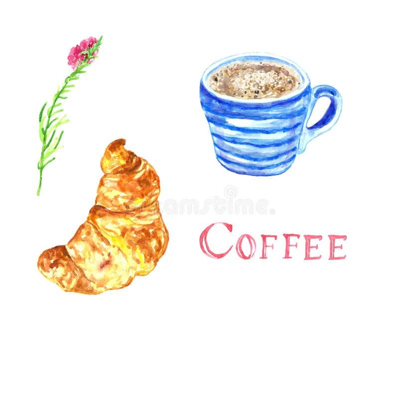 Taza pintada a mano de la acuarela de café ilustración del vector