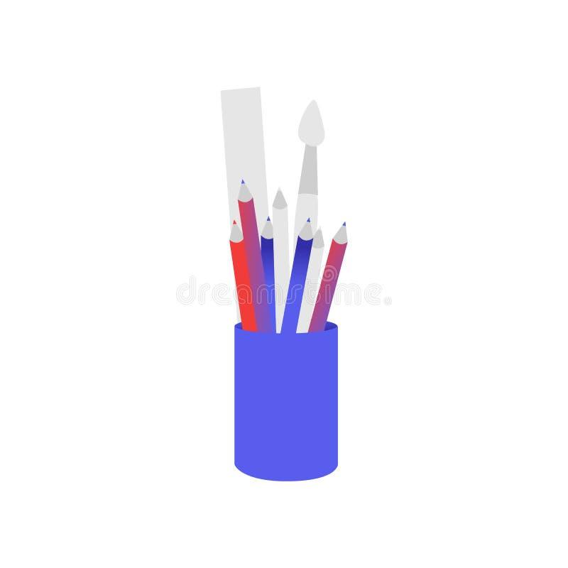 Taza plástica azul con el relleno de la cancillería aislado en el fondo blanco libre illustration