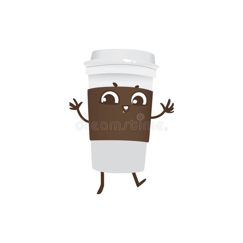 Taza plástica para llevar de baile y de sonrisa del personaje de dibujos animados del café ilustración del vector