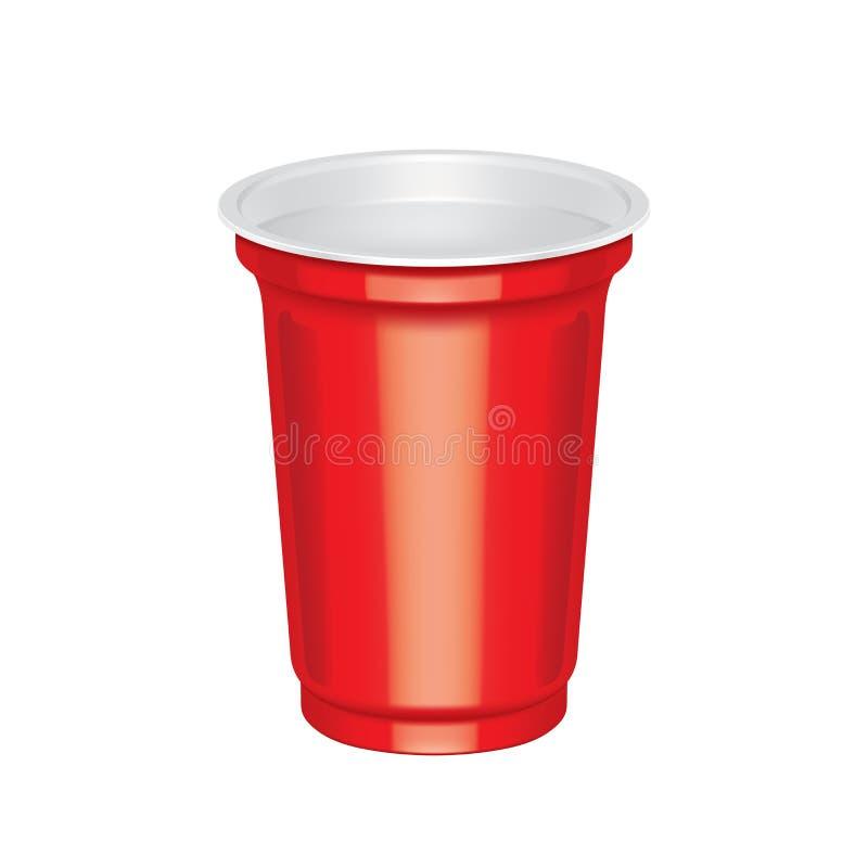 Taza plástica roja ilustración del vector