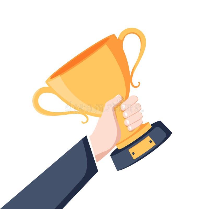Taza que gana disponible Símbolo del éxito, ganando, campeonato Trofeo del oro Cuenco del premio libre illustration