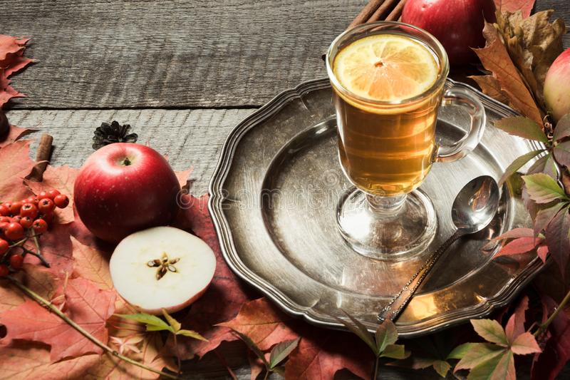Taza que se calienta de té con la decoración de las hojas y de las calabazas de otoño en el tablero de madera Todavía de la caída foto de archivo libre de regalías
