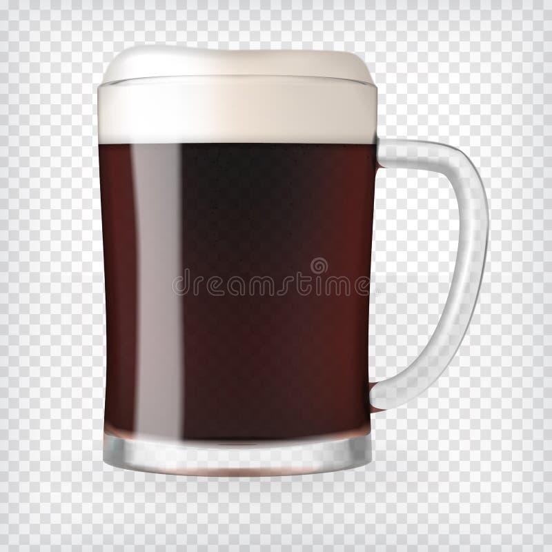 Taza realista con la cerveza imagen de archivo