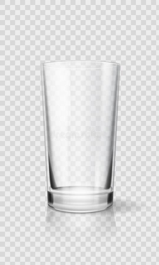 Taza realista vacía del vidrio de consumición Ejemplo transparente del vector de la cristalería ilustración del vector
