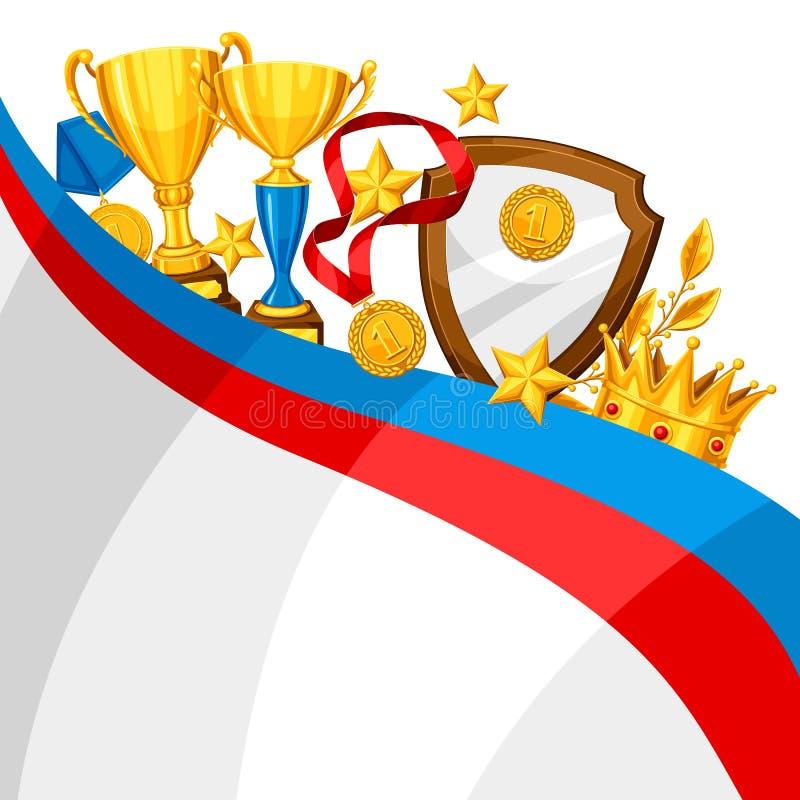 Taza realista y otra del oro premios Fondo con el lugar para el texto para los deportes o las competencias corporativas stock de ilustración