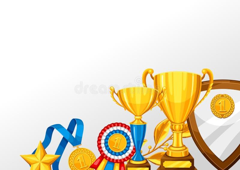 Taza realista y otra del oro premios Fondo con el lugar para el texto para los deportes o las competencias corporativas ilustración del vector