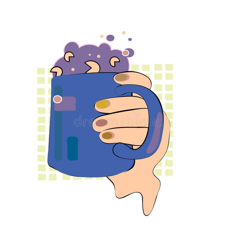 Taza retra de la bebida del estilo con espuma ilustración del vector