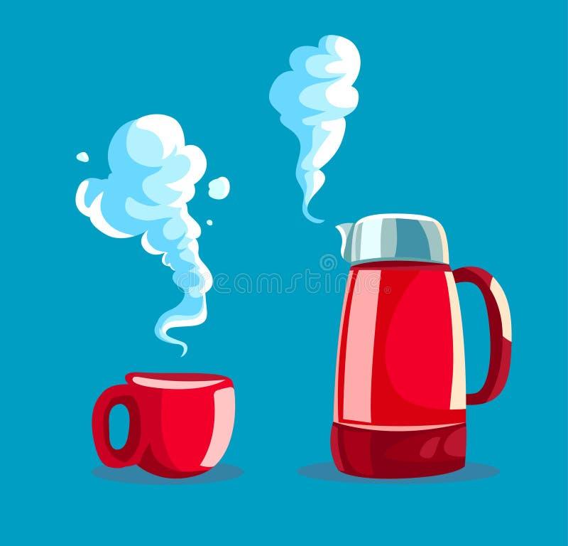 Taza roja con té o café caliente libre illustration