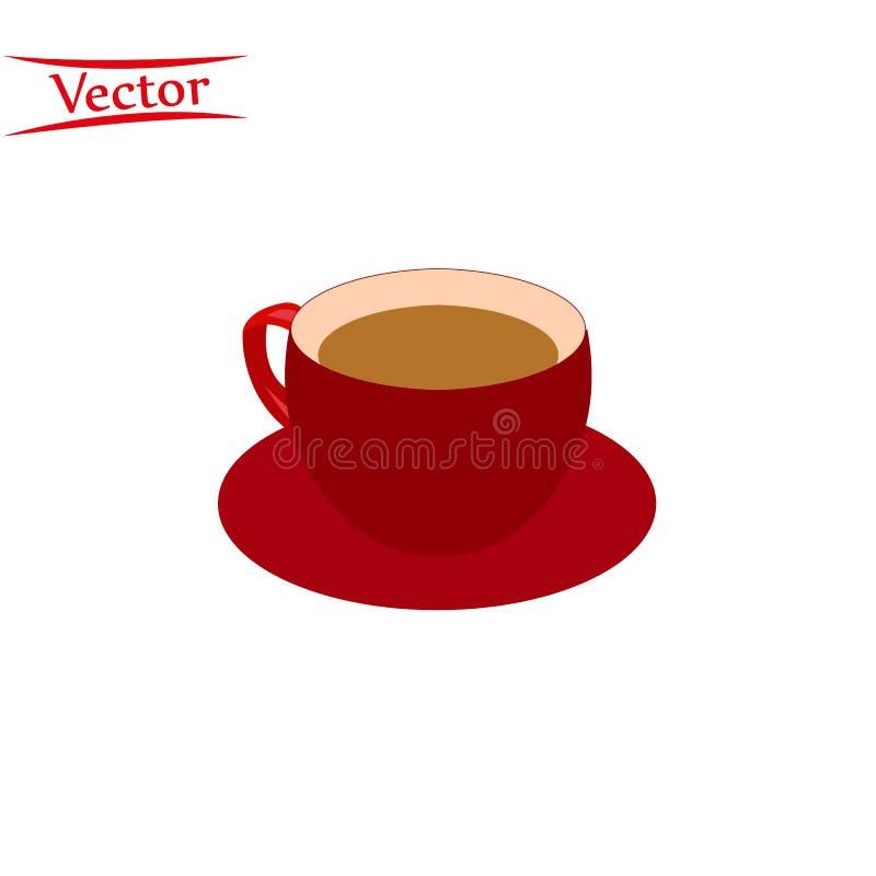 Taza roja realista del vector, taza de marr?n Bebida caliente, bebida en de cer?mica blanco, taza de la porcelana Negocio, s?mbol stock de ilustración