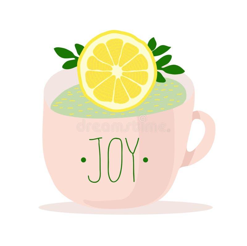 Taza rosada con la alegría de la inscripción, adornada con un limón Ejemplo agradable del té libre illustration