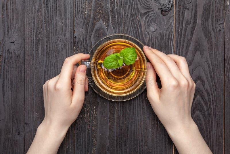 Taza transparente de té negro ambrino en manos femeninas fotografía de archivo