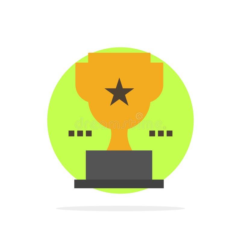 Taza, trofeo, premio, icono plano del color de fondo del círculo del extracto del logro libre illustration