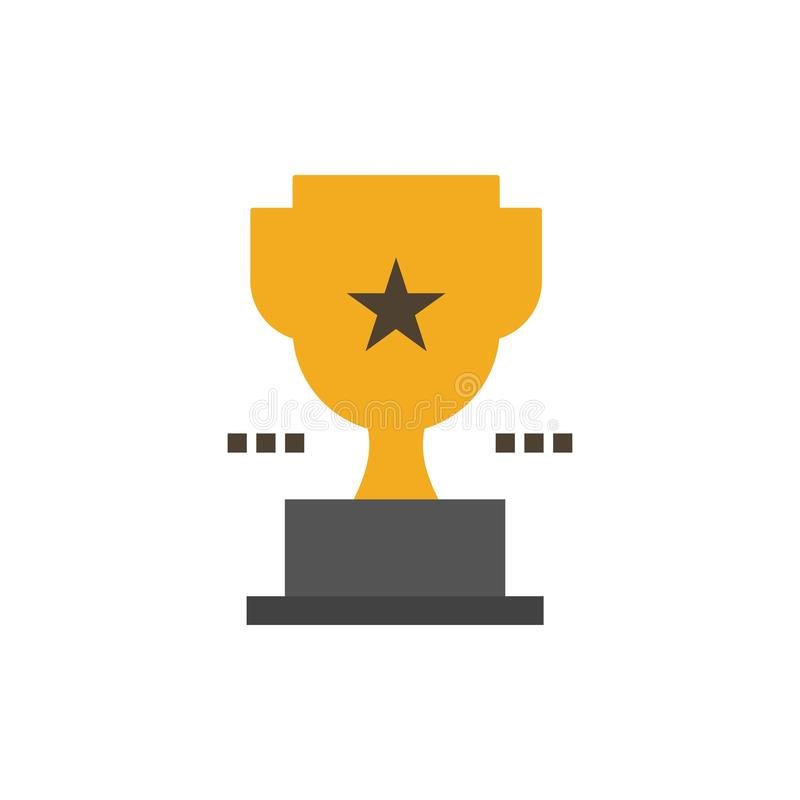 Taza, trofeo, premio, icono plano del color del logro Plantilla de la bandera del icono del vector stock de ilustración