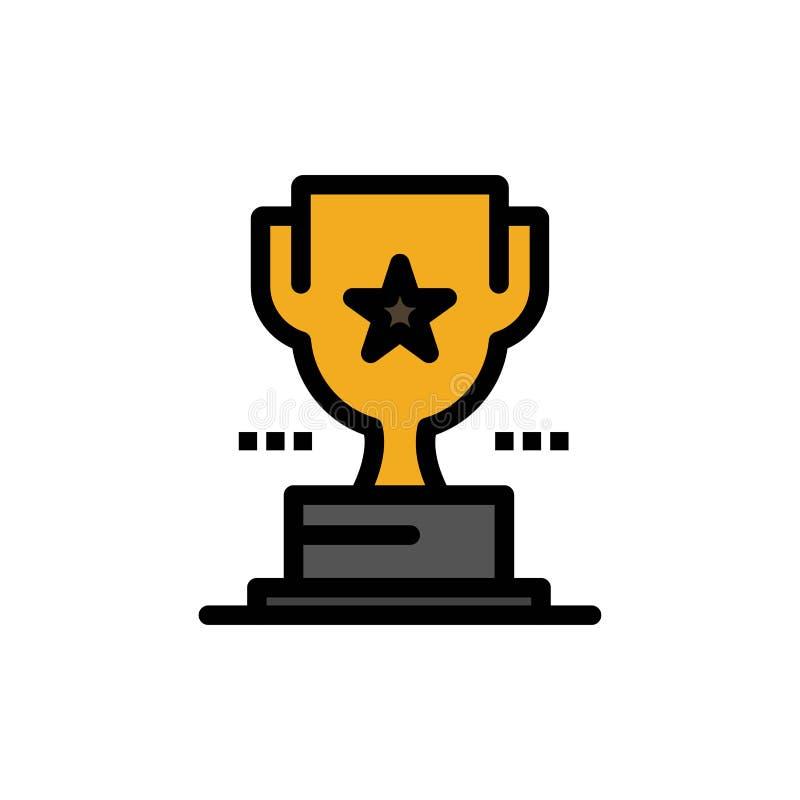 Taza, trofeo, premio, icono plano del color del logro Plantilla de la bandera del icono del vector libre illustration