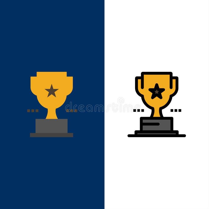 Taza, trofeo, premio, iconos del logro El plano y la línea icono llenado fijaron el fondo azul del vector stock de ilustración