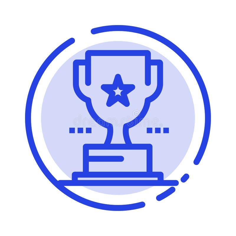 Taza, trofeo, premio, línea de puntos azul línea icono del logro ilustración del vector