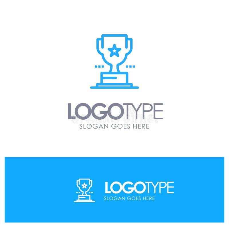 Taza, trofeo, premio, logotipo azul del esquema del logro con el lugar para el tagline stock de ilustración