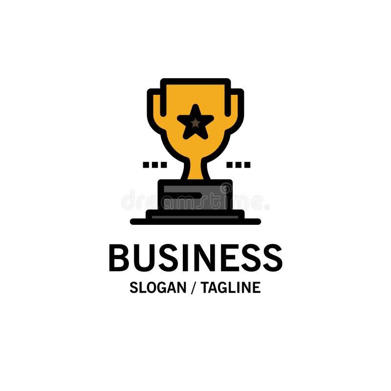 Taza, trofeo, premio, negocio Logo Template del logro color plano stock de ilustración